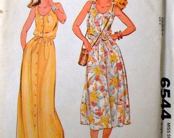 Vintage Sewing Pattern  McCall's 6544 Misses' SunDress  Size 8 Bust 31 Inches  Uncut Complete