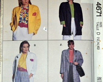 Vintage 1990 Sewing Pattern McCall's 4671 Misses' Unlined Jacket Bust 34-38 Inches UNCUT Complete