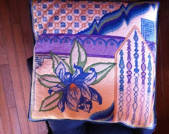 """vintage  handmade needlepoint  pillow vintage 15"""" by 14"""" inch Iris  beautiful colors"""