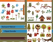 60% OFF SALE Owls, birds, trees, butterflies, squirrels clipart - Backyard nature clip art bundle - digital images MGB158