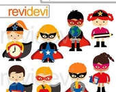 60% OFF SALE Superhero back to school clipart / superhero digital clipart with school supplies graphics