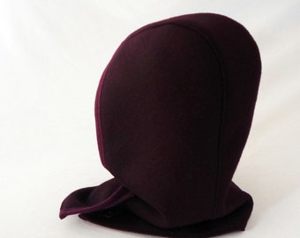 Hooded Cowl in Purple Boiled Wool with Dusty Ruby Lining and Knit Wool Trim : Womens Hats, Winter Hood, Cozy Hat, Hoodie, Warm, Gift for Her