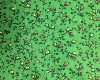 Green tiny floral fabric - 1/2 yard