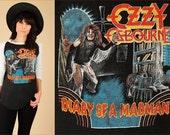 ViNtAgE 80's OZZY Osbourne T-Shirt Shirt // 1981 Diary of A MadMan Tour Shirt// Black Sabbath Randy Rhoads  // 80's Concert Tee Raglan M