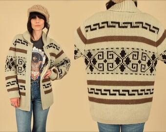 Vintage PENDLETON Sweater // The Dude // Cowichan Big Lebowski // Rolled Shawl Collar Wool // L