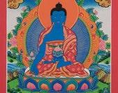 Medicine Buddha Original Hand Painted Thangka Painting from Nepal.   Non-Profit, Nepalese Art, Buddhist Art, Tibetan