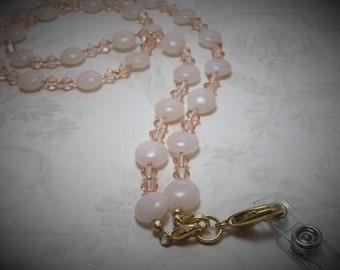 Peach Aventurine and Swarovski Badge Lanyard Necklace