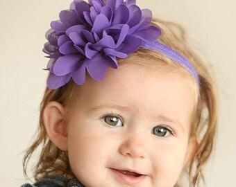 Purple Chiffon Baby Headband Purple Baby Headband Purple Headband Purple Shabby Chic Baby Headband Purple Newborn Headband