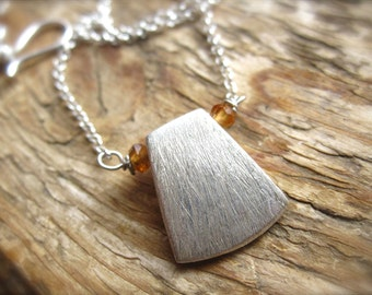 Minimalistic Layering Necklace - Brushed Solid Sterling Silver - 19 1/2 inches
