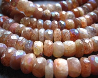 Mystic AB Sunstone Faceted Rondelles - 6 1/2 inches - 8mm X 4mm