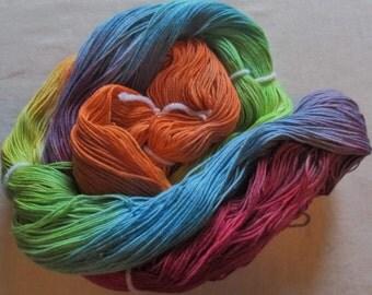 Hand dyed Soft 3 ply Ring Spun Cotton Yarn  -RAINBOW 490 yds-