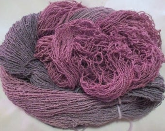 Handpainted Organic Cotton Lace Yarn - DUSTY GRAY ROSE - 430 yds