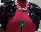 Black Satin Bolero,Satin Wedding Bolero, Black Satin Wedding Jacket Short Sleeves