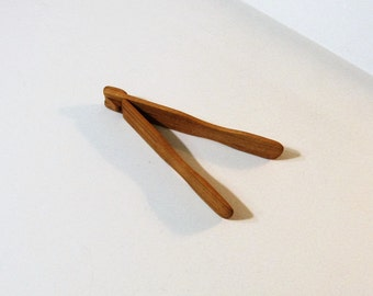 Small Tongs Cherry Wood Spring Tongs
