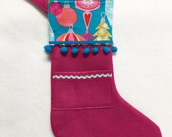 Felt Stocking, Christmas Stocking, Pocket Peeper, Jingle Jangle - Magenta Stocking