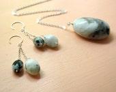 RESERVED - Custom Rainbow Moonstone Necklace, Bracelet and Earrings Set