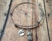 Pineapple initial bangle - pineapple jewelry, fruit jewelry, pineapple bracelet, silver pineapple pendant, fruit bracelet, Hawaii jewelry