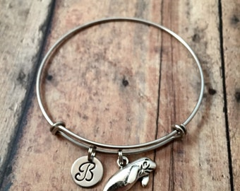 Manatee initial bangle - manatee jewelry, ocean jewelry, sea animal jewelry, manatee bangle, Florida jewelry, silver manatee bracelet