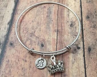 Crown initial bangle- princess crown bracelet, crown jewelry, pageant bracelet, crown bracelet, princess jewelry, pageant jewelry