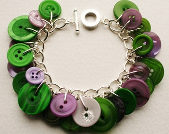 Button Bracelet Bright Greens and Dusky Purples