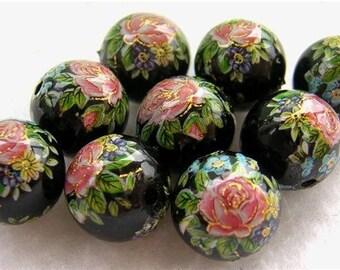WHOLESALE SALE 9 Japanese TENSHA Beads Pink Roses on Black 10mm