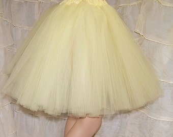 Pastel Yellow Romance Knee Length TuTu skirt adult All Sizes MTCoffinz
