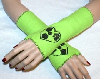 Nuke Heart Symbol Neon Green Fleece Arm Warmers MTCoffinz --CLOSEOUT SALE - Ready to Ship