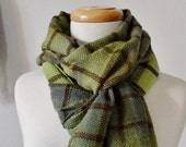 Green Plaid Blanket Scarf - Handwoven Blanket Scarf. Forest Ombres and Fringe. Soft 70% Wool, Sample Sale
