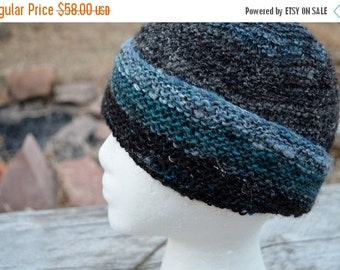 October Sale Black Sheep Hat. Hand Knit from a Blend of Shetland and Merino Wool, Plus Bamboo. Black and Blue. For Men, Women, Anyone. It Is