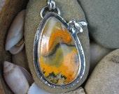 Bumblebee Jasper Pendant, Bee Necklace, Silver Artisan Jewelry, Metalwork, Orange, Yellow