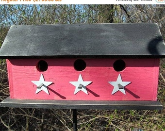 SUMMER SALE Primitive  Country Three Hole Birdhouse Separate Compartments Red Black White Stars