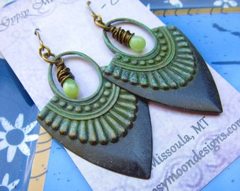 Black earrings tribal blade ethnic earrings patina bohemian jewelry