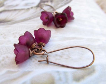 Mothers day gift - aubergine Flower earrings Nature jewelry eggplant purple dangle earrings