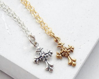 Small Cross Necklace | Religious Jewelry | Faith Necklace | Communion Jewelry | Charm Necklace | Silver or Gold