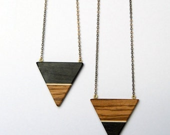 50% off Ebony and Zebrawood Triangle - ebony, maple and zebrawood necklace with antique brass chain