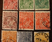 Early Australia Postage Stamp Lot Collection of Early 1900's Australian Postage Stamps Philately Ephemera Collectable Paper
