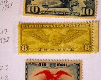 Collection US Air Mail Stamps 1920 10c Charles Lindberg 1932 8c Flying Wing 1938 6c Eagle Lot of US Postage Stamps Philately Collectable