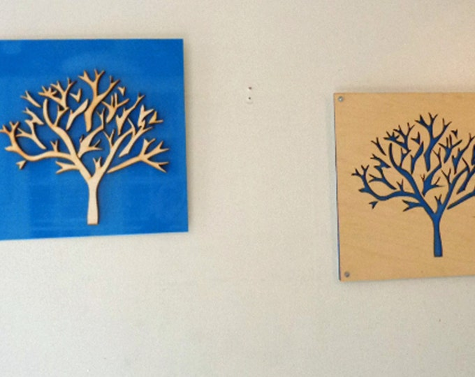 2 Plywood/Recycled Aluminum Trees in Sky Blue