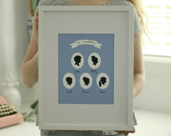 Custom Family Portrait Silhouette Print - made from your photo - Mother's Day gift for Grandma / Grandmother