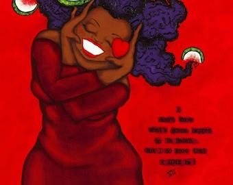 Prints:5x7 BABEH -LOVE Yourself First  Affirmation Natural Hair KarinsArt karin turner  african american valentine AFRO curves valentine