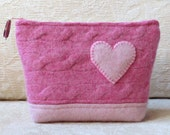 Heart Felt Zippered Pouch, Upcycled Felted Sweater Wool Clutch in Pink