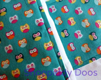 Burp Cloths - Set of 2 - OWLS, Ready to Ship
