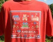 vintage 90s t-shirt i LOVE AMERICA flag heart country farm tee XL Large patriotic