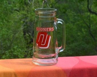 70s vintage glass beer mug university of OKLAHOMA sooners stein tapered handle preppy 80s