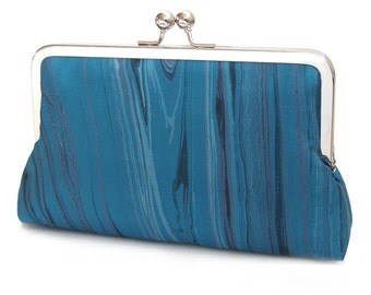 Marbled blue clutch bag, printed silk purse, teal wedding clutch, bridesmaid gift, gift for her, something blue