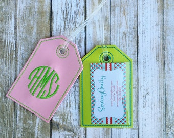 Monogram luggage tag - personalized luggage tag - signet monogram - faux leather luggage tag - groomsman gift - bridesmaid gift