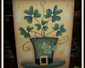 St Patrick's Day Wood Shelf Sitter Block Hand Painted Home Decor Decoration