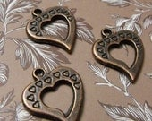 END of Year SALE 5 Pack New Antique Finish Brass Open Heart Charms