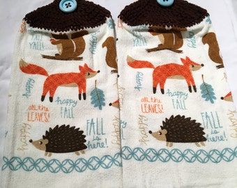 Hedgehog, Fox, Hand or Kitchen Towels Set of 2