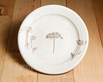 Ceramic Dessert Plate - Pottery Botanical Plate - Stoneware Salad Plate - Dandelion